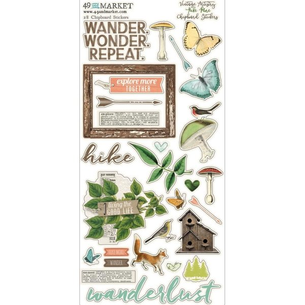 49 and Market Chipboard Stickers 6x12 (vintage artistry hike more)