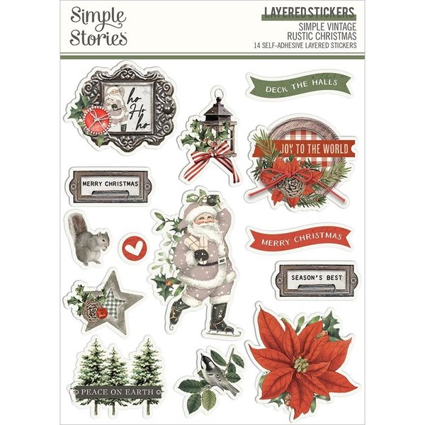 Simple Stories *PRE-ORDER* Layered Stickers (vintage rustic christmas)