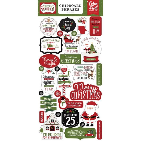Echo Park Paper Chipboard Phrases 6x13 (christmas magic)