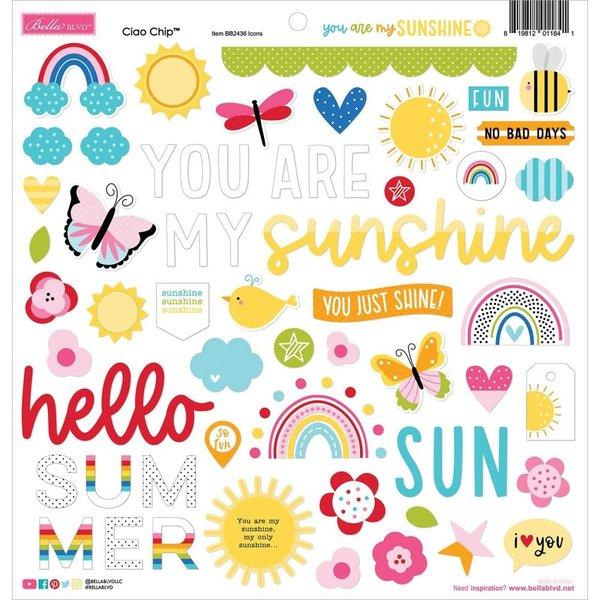 Bella Blvd Chipboard Stickers 12x12 (you are my sunshine)