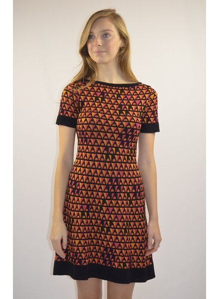 M MISSONI TRIANGLE KNIT SHORT SLEEVE DRESS