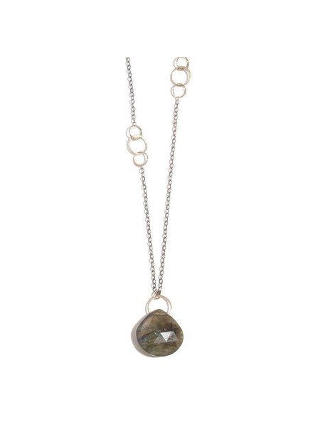 MELISSA JOY MANNING LABRADORITE SINGLE DROP NECKLACE