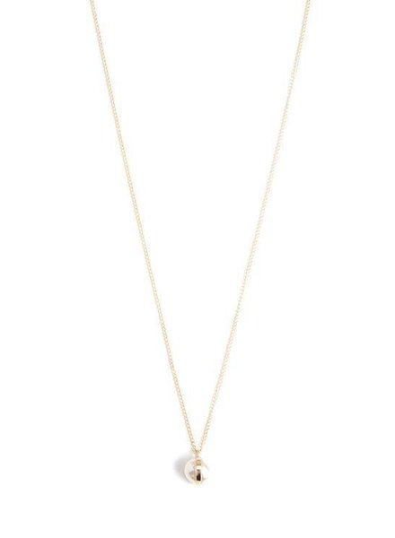 MELISSA JOY MANNING BEZEL WRAPPED PEARL DROP NECKLACE