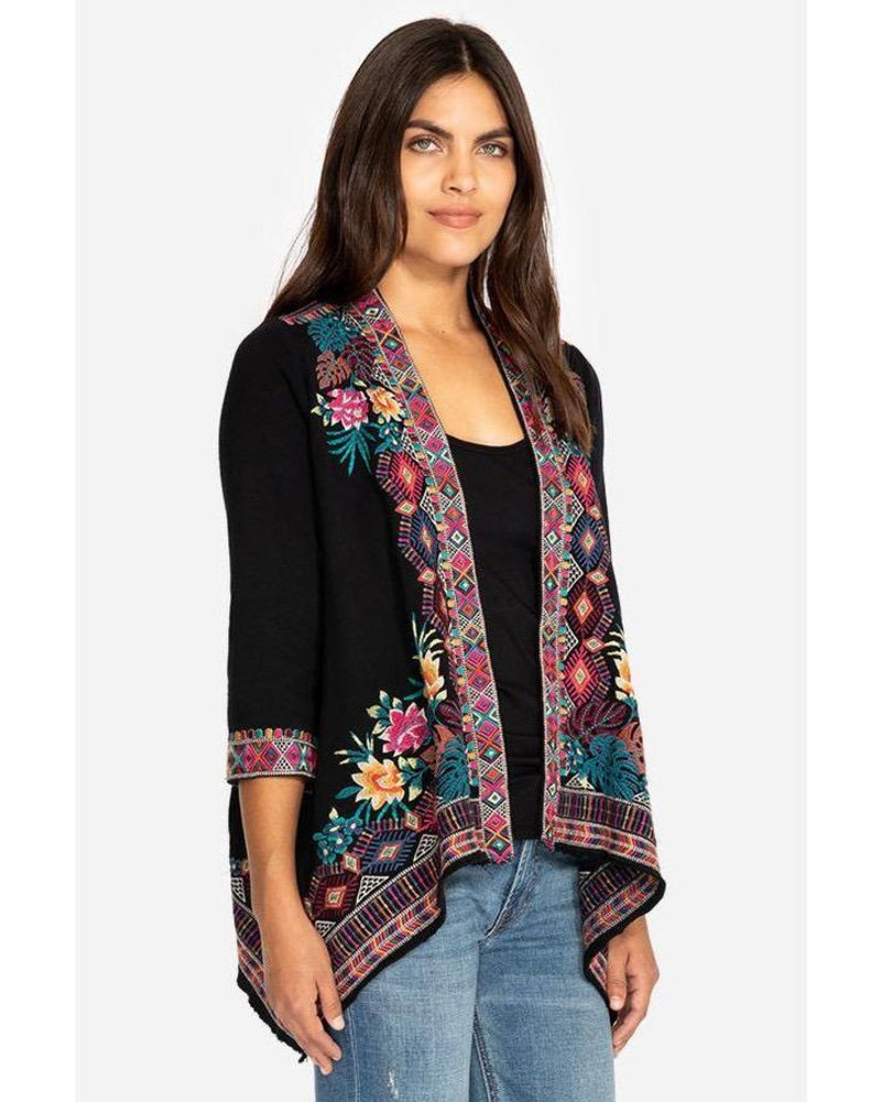 JOHNNY WAS BLACK QUINN F.T. DRAPED CARDIGAN
