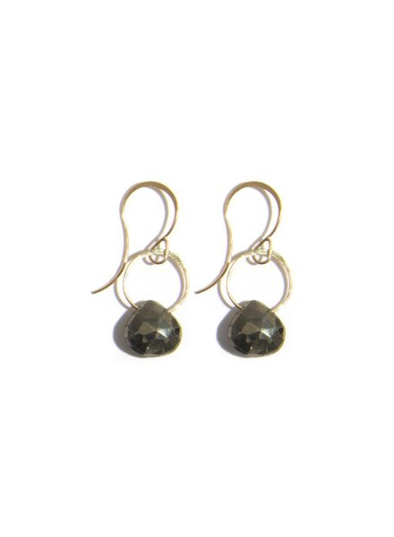 MELISSA JOY MANNING PYRITE SINGLE DROP EARRING