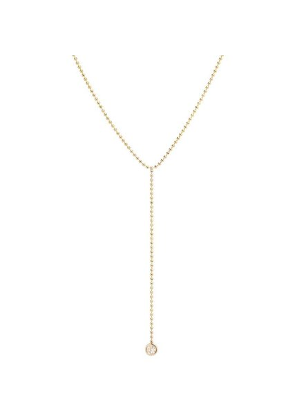 ZOE CHICCO 14K GOLD BEAD CHAIN LARIAT WITH DIAMOND