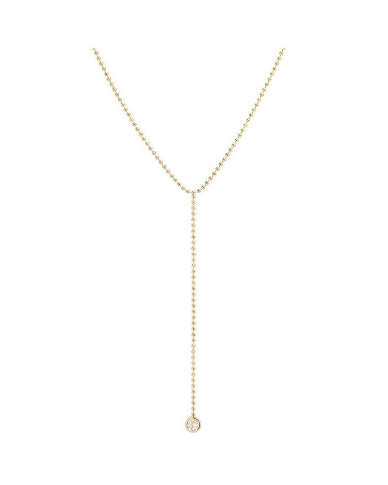 ZOE CHICCO 14K GOLD BEAD CHAIN LARIAT WITH DIAMOND