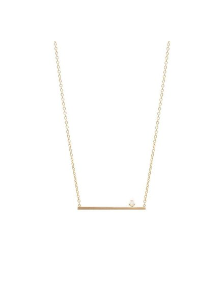 ZOE CHICCO 14K PRONG SET DIAMOND STRAIGHT BAR NECKLACE