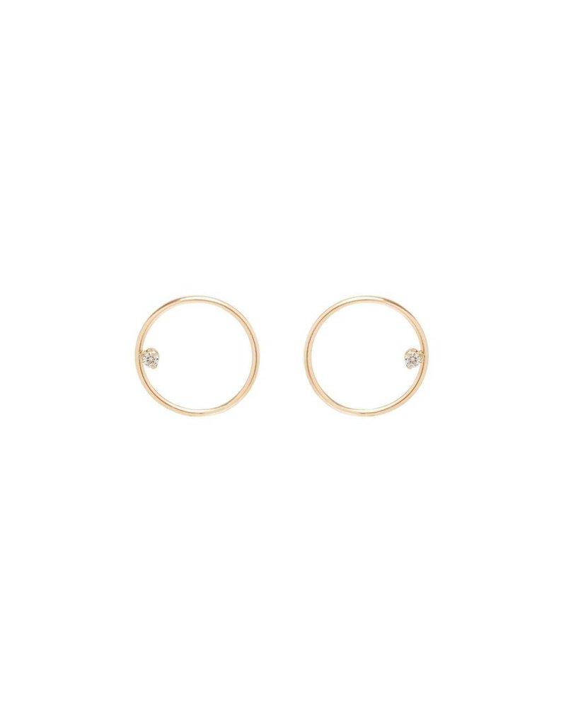 ZOE CHICCO 14K SMALL CIRCLE POST EARRINGS WITH PRONG SET DIAMONDS
