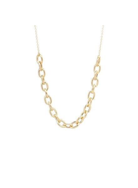 ZOE CHICCO 14K GOLD OVAL LINK STATION NECKLACE