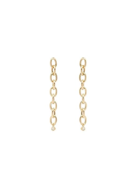 ZOE CHICCO 14K OVAL LINK AND DANGLING BEZEL DIAMOND EARRINGS