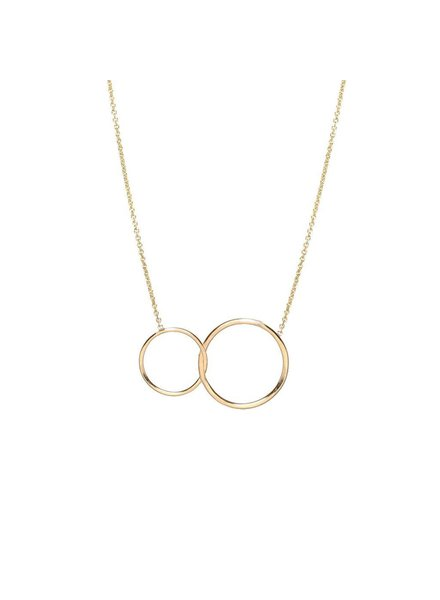 ZOE CHICCO 14K MIXED CIRCLES NECKLACE