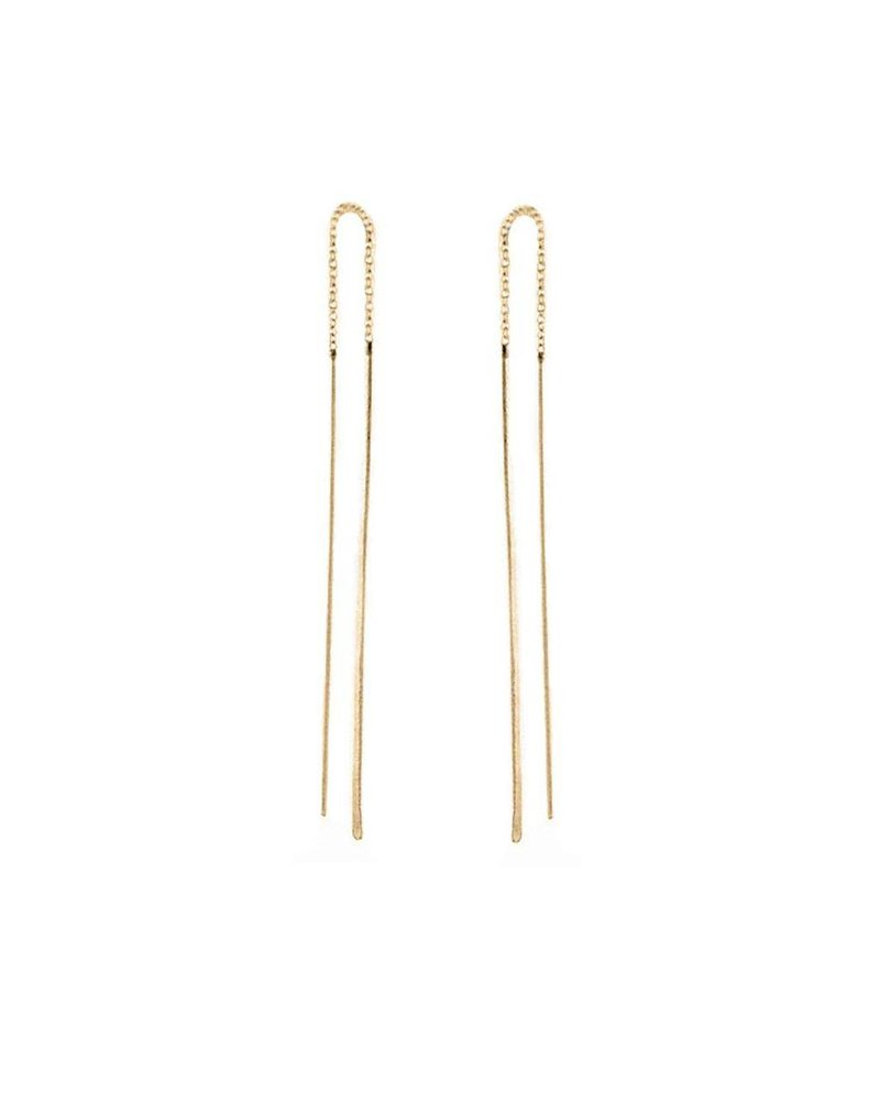 ZOE CHICCO 14K HAMMERED WIRE THREADER EARRINGS