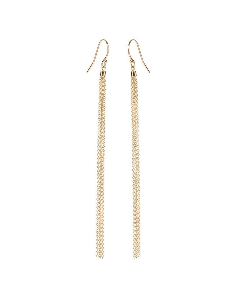 ZOE CHICCO 14K LONG THIN TASSEL EARRINGS