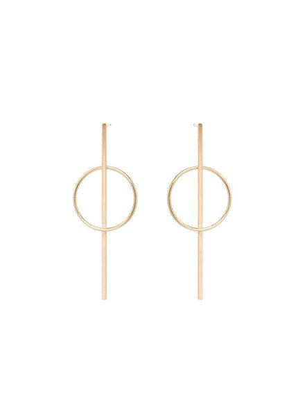 ZOE CHICCO 14K LONG BAR AND CIRCLE POST EARRING
