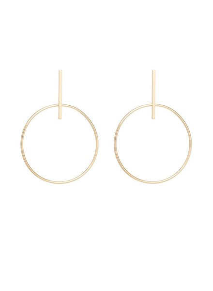 ZOE CHICCO 14K LARGE CIRCLE AND BAR POST EARRINGS