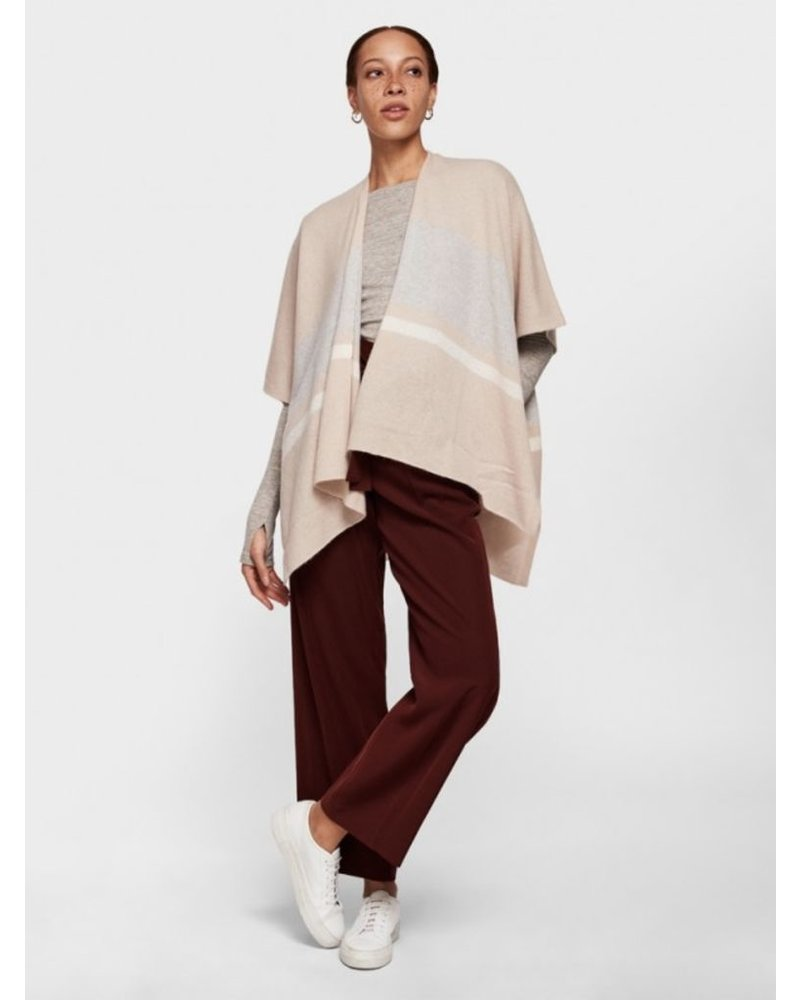 WHITE + WARREN BOLD STRIPE PONCHO
