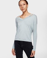 WHITE + WARREN SPLIT NECK V NECK