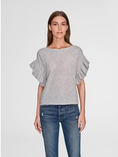 WHITE + WARREN RUFFLE SLEEVE BOATNECK