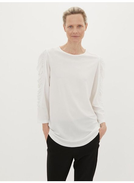 BY MALENE BIRGER WHITE GATHERED ARM TOP