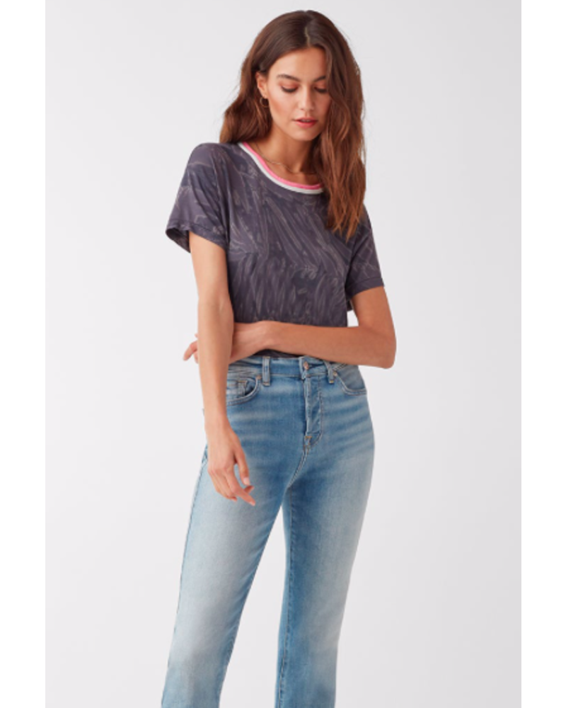 SPLENDID FROND TREATMENT CONTRAST BANDED TEE