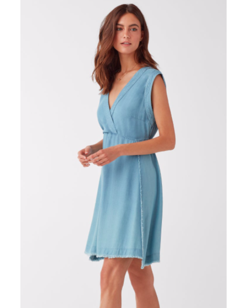SPLENDID MONTEREY INDIGO CROSSHATCH V-NECK DRES