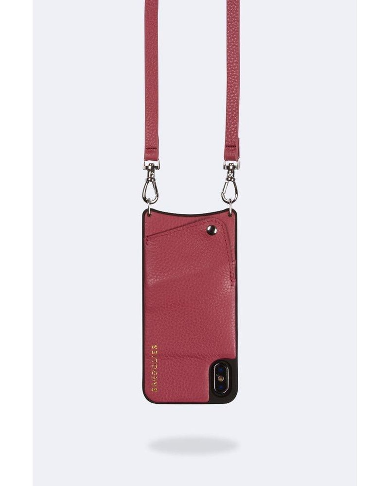 BANDOLIER EMMA PEBBLE LEATHER MUTED RED SILVER XS MAX