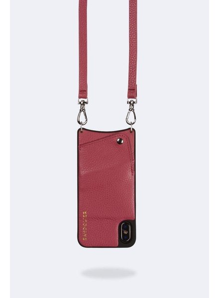 BANDOLIER EMMA PEBBLE LEATHER MUTED RED SILVER X