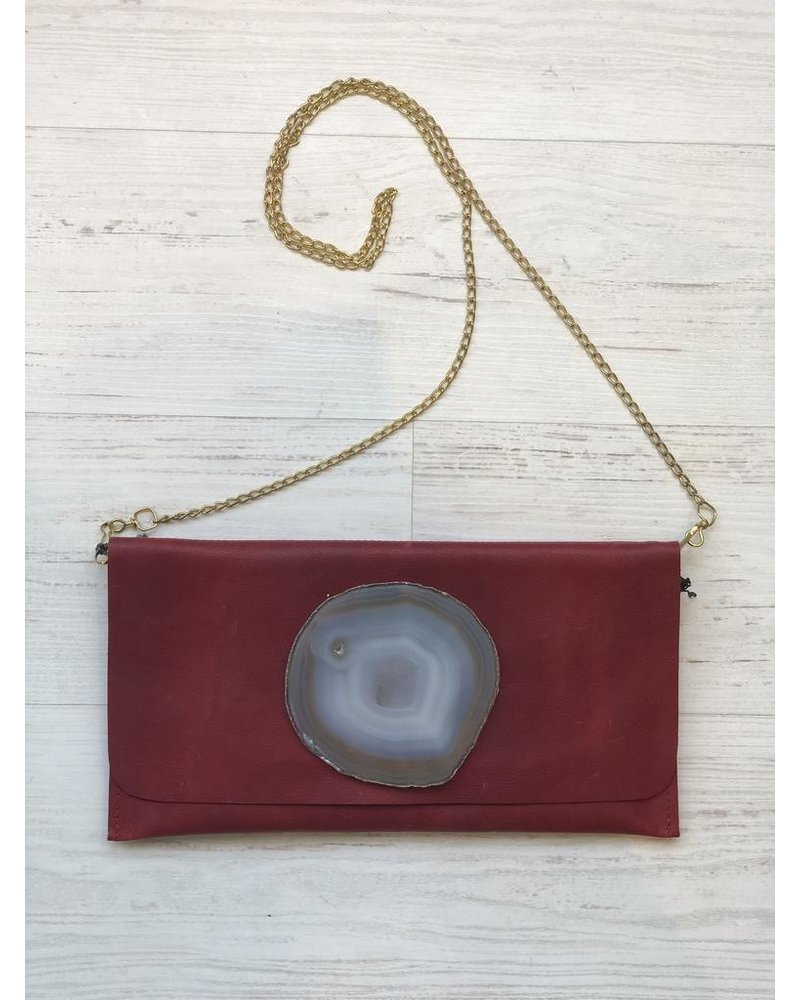 KRAVA RED LEATHER WITH GRAY STONE