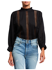FRAME LACE RUFFLE NECK TOP