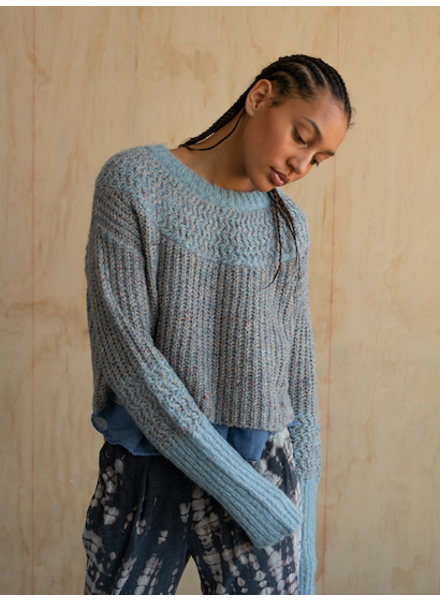 RAQUEL ALLEGRA CLOUD BLUE CROP SWEATER
