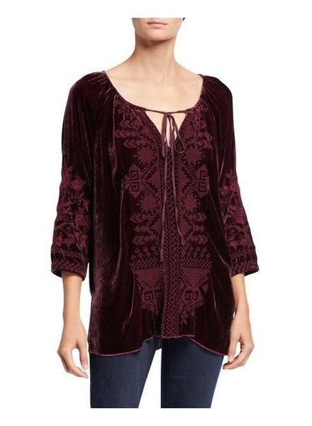 JOHNNY WAS DANIELLA VELVET PEASANT BLOUSE