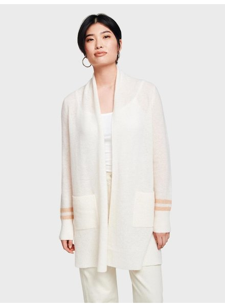 WHITE + WARREN PEARL WHITE/ WARM SAND HEATHER CARDI
