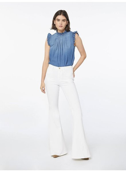 FRAME RUFFLE DENIM SLEEVELESS TOP