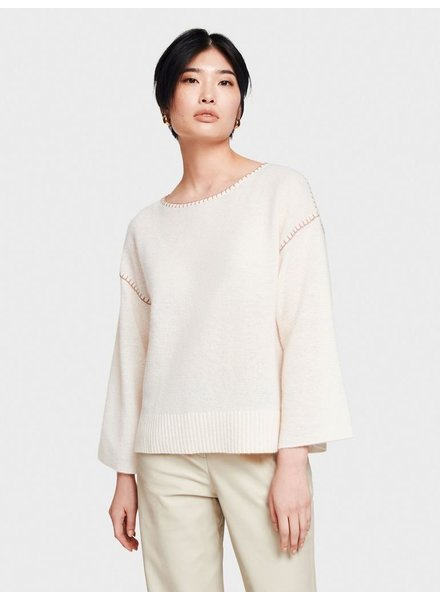 WHITE + WARREN BLANKET STITCH OPEN CREWNECK