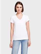 WHITE + WARREN V NECK TEE