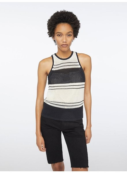 FRAME OPEN KNIT STRIPE TANK