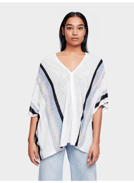 WHITE + WARREN STRIPED PONCHO