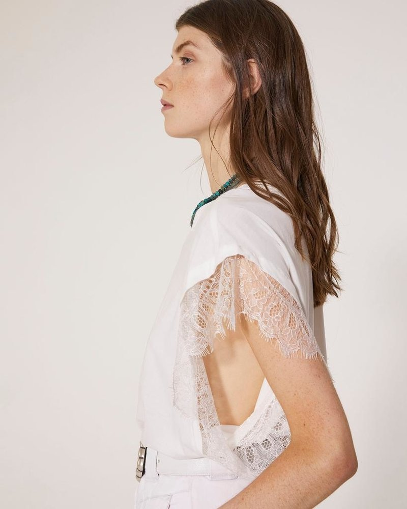 IRO DUNES WHITE TEE WITH LACE SLEEVES