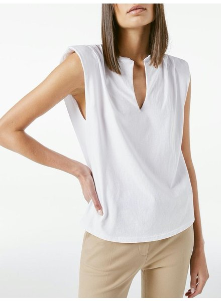 FRAME PADDED SHOULDER V NECK TEE
