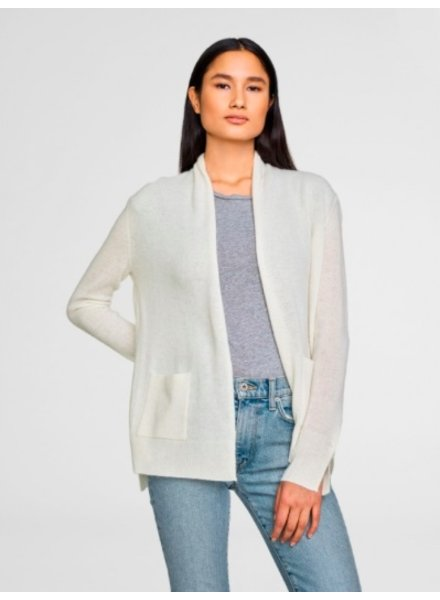 WHITE + WARREN PATCH POCKET CARDIGAN  IN PEARL WHITE