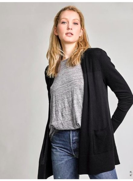 WHITE + WARREN BLACK POCKET CARDIGAN