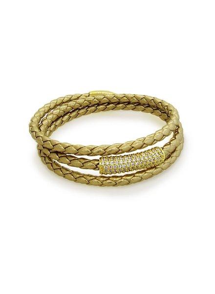 LIZA SCHWARTZ SOBE BAR TRIPLE WRAP BRACELET IN METALLIC GOLD