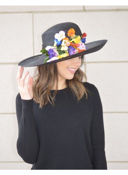 PHILIP TREACY BLK SINAMAY HAT WITH FLOWERS