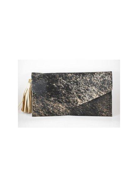 KRAVA BLACK HAIRCALF WITH GOLD TASSEL CLUTCH