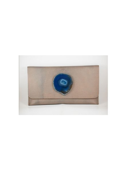 KRAVA GOLD SOFT LEATHER WITH BLUE STONE CLUTCH