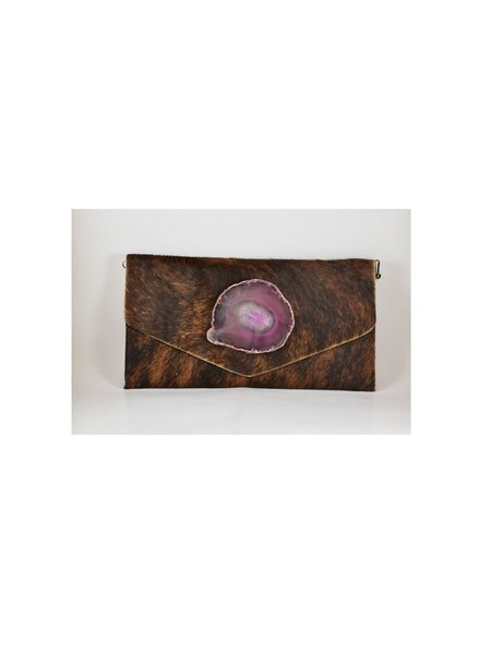 KRAVA CAMEL HAIRCALF WITH PINK STONE CLUTCH