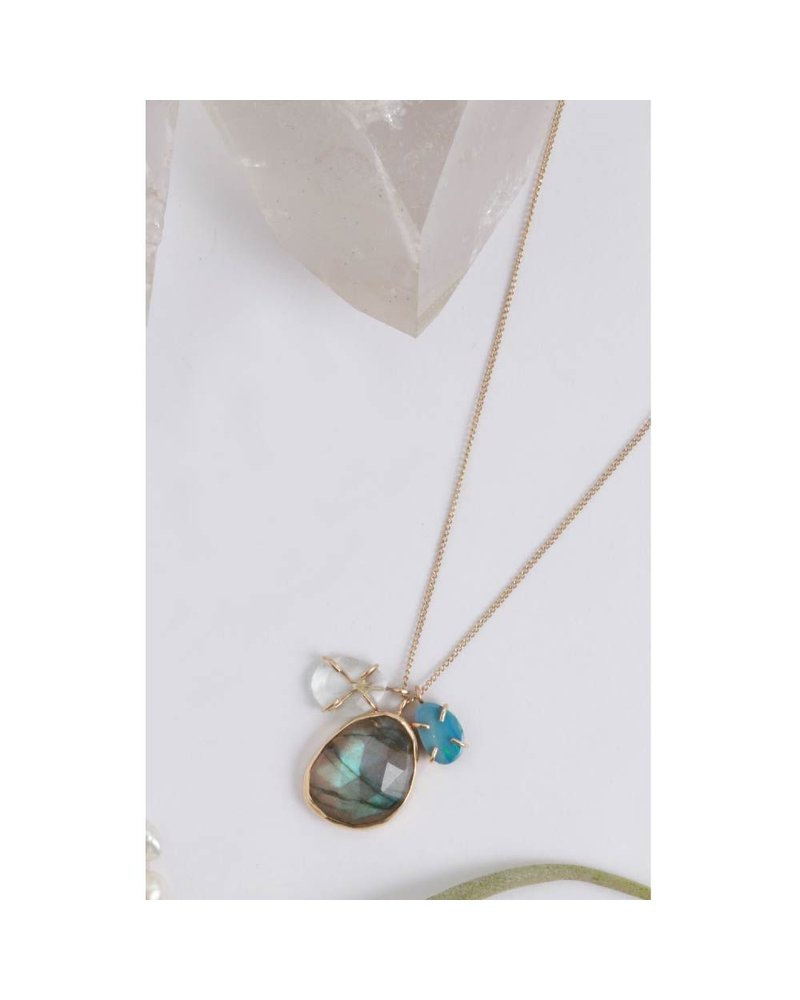 MELISSA JOY MANNING 14K YELLOW GOLD AND SS AQUAMARINE, LABRADORITE, AND OPAL