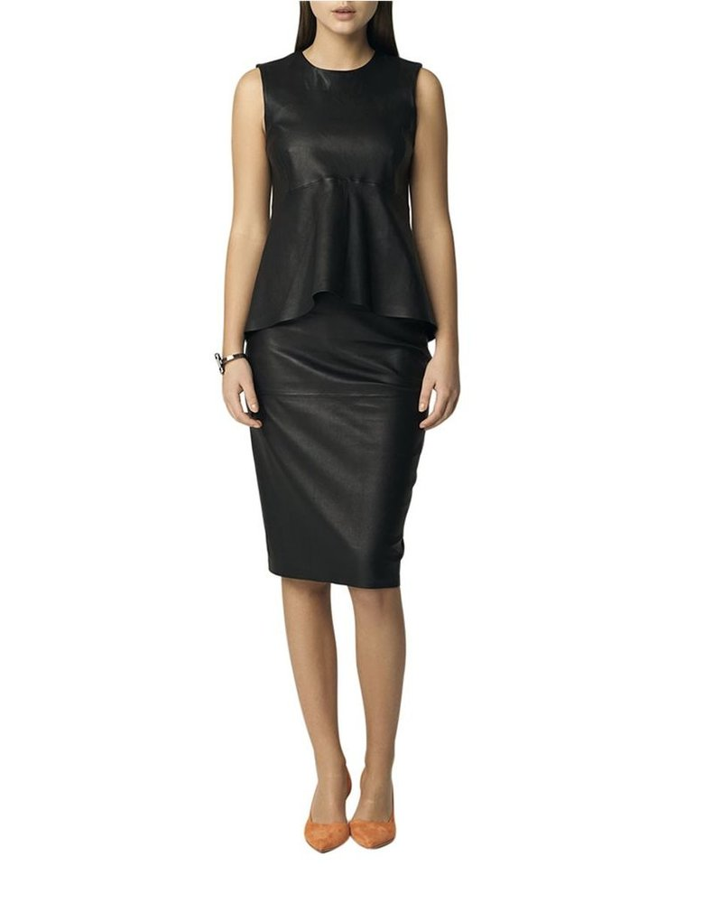 71756c5465 MALENE BIRGER FLORIDIA LEATHER PENCIL SKIRT - The Peacock Boutique