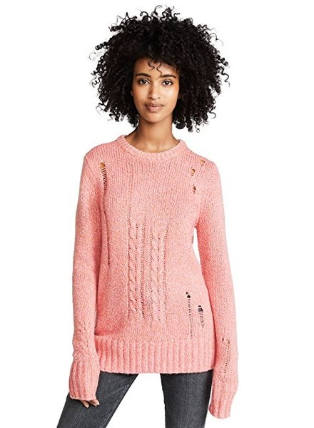 RAQUEL ALLEGRA CREW NECK IN PINK FLECK
